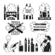Monochrome Labels Set for Vaping and Smoking Club