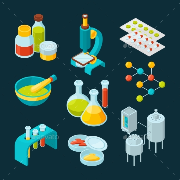 Isometric Icons Set of Pharmaceutical Industry - Man-made Objects Objects