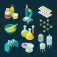 Isometric Icons Set of Pharmaceutical Industry