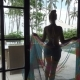 Woman in Bikini Going to Swimming Pool on Tropical Resort in Bali - VideoHive Item for Sale
