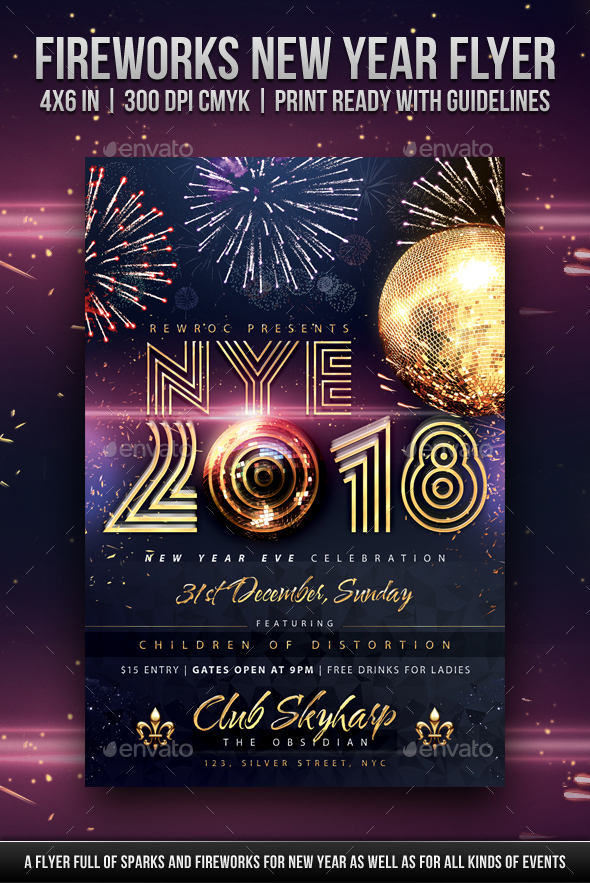 GraphicRiver Fireworks New Year Flyer 21174868