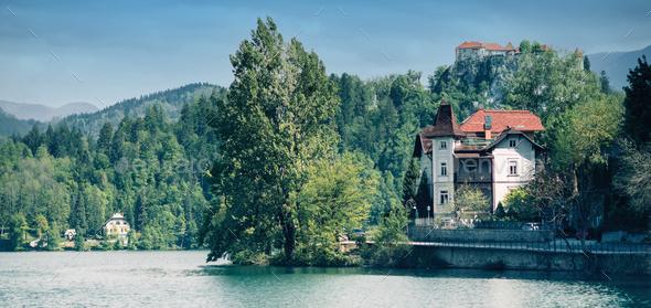 Bled lake, Slovenia, toned panoramic image - Stock Photo - Images