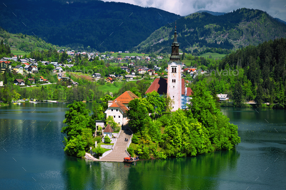 Lake Bled with St. Marys Church - Stock Photo - Images