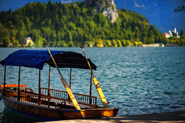 Traditional wooden boats, Bled Lake, Slovenia - Stock Photo - Images