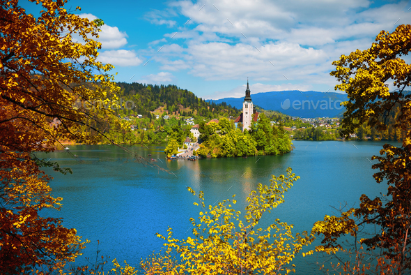 Bled lake autumn panorama - Stock Photo - Images