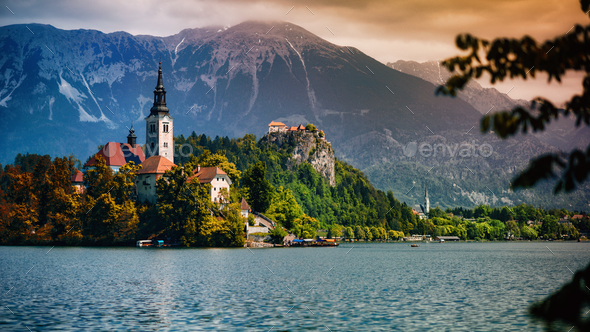 Sunset over Lake Bled - Stock Photo - Images