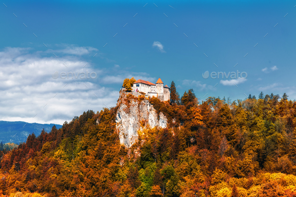 Medieval castle on Bled lake in Slovenia - Stock Photo - Images