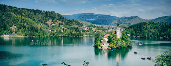 Bled lake in Slovenia, panoramic image - Stock Photo - Images