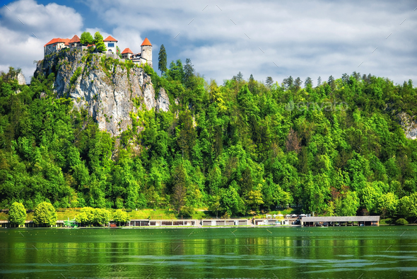 Medieval castle, Bled lake - Stock Photo - Images
