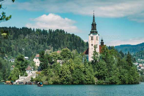 Bled lake with church on the small island - Stock Photo - Images