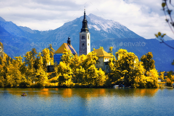 Lake Bled with the Assumption of Mary Pilgrimage Church - Stock Photo - Images