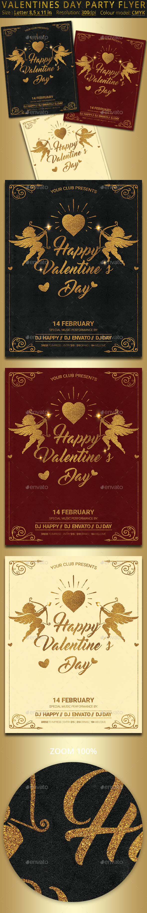 Valentines Day Party Flyer Poster - Clubs & Parties Events