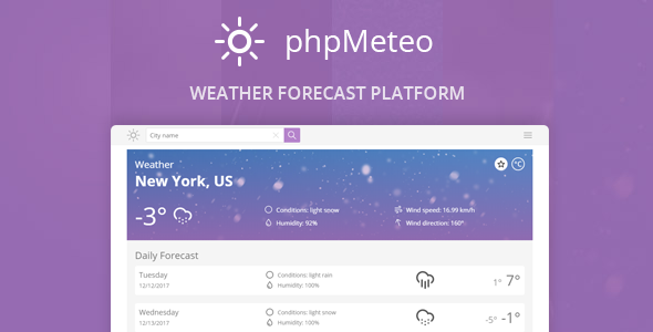 phpMeteo - Weather Forecast Platform - CodeCanyon Item for Sale