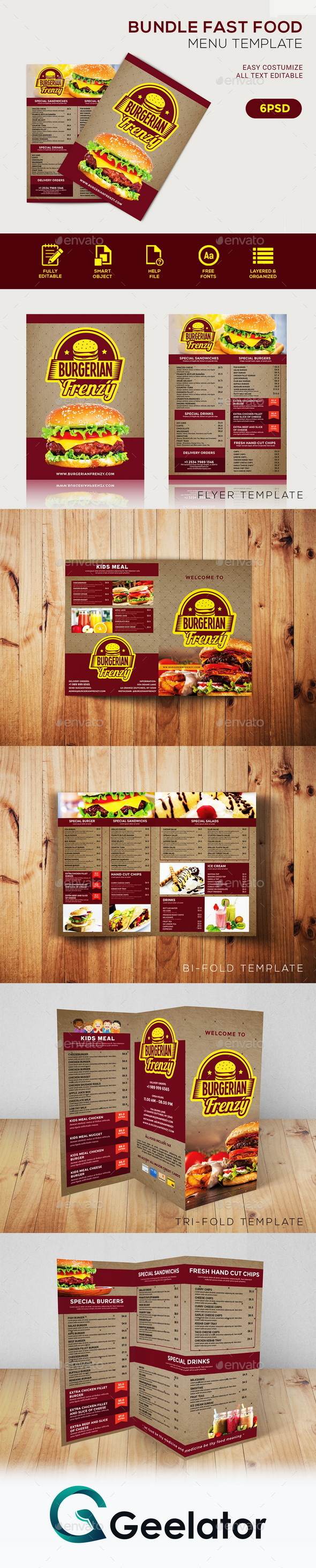 Bundle Fast Food Menu Template - Food Menus Print Templates