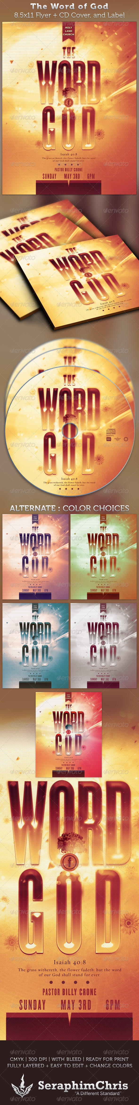 The Word of God Full Page Flyer and CD Cover - Church Flyers
