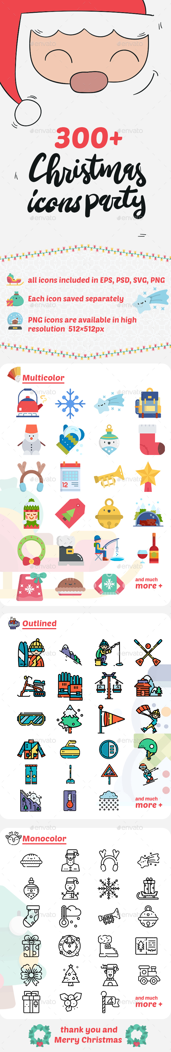 GraphicRiver 300& Christmas Icons 21175905