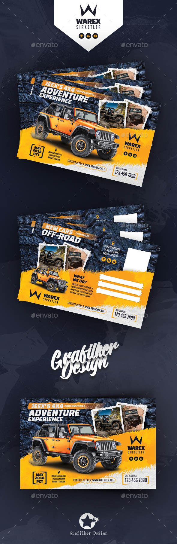GraphicRiver Off-Road Adventure Postcard Templates 21164611