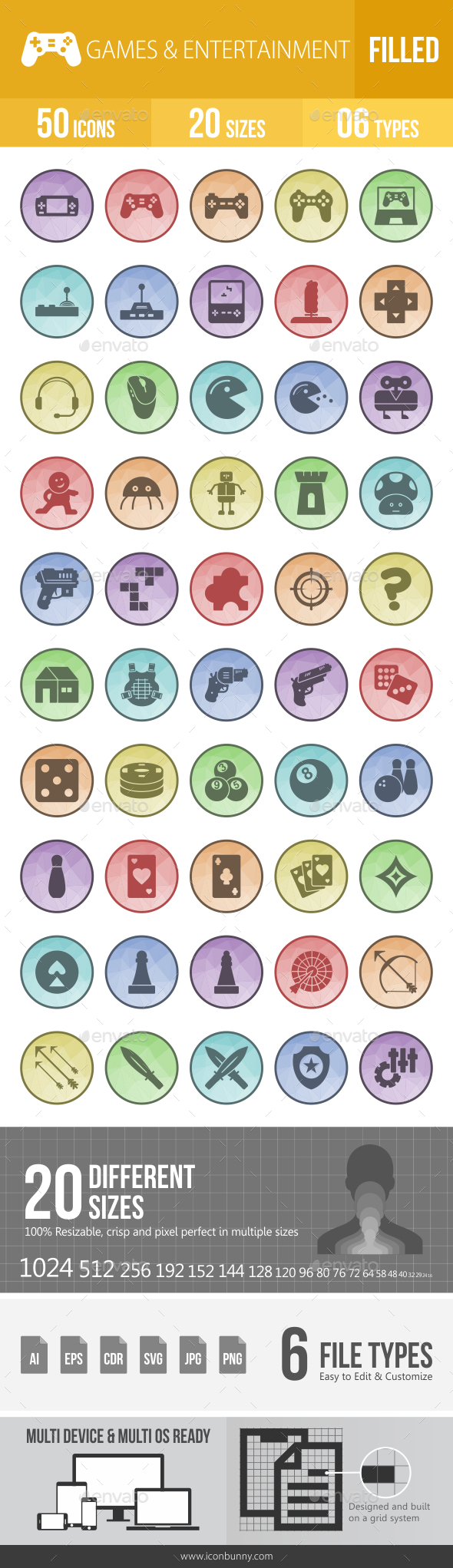 GraphicRiver 50 Games & Entertainment Filled Low Poly Icons 21176116