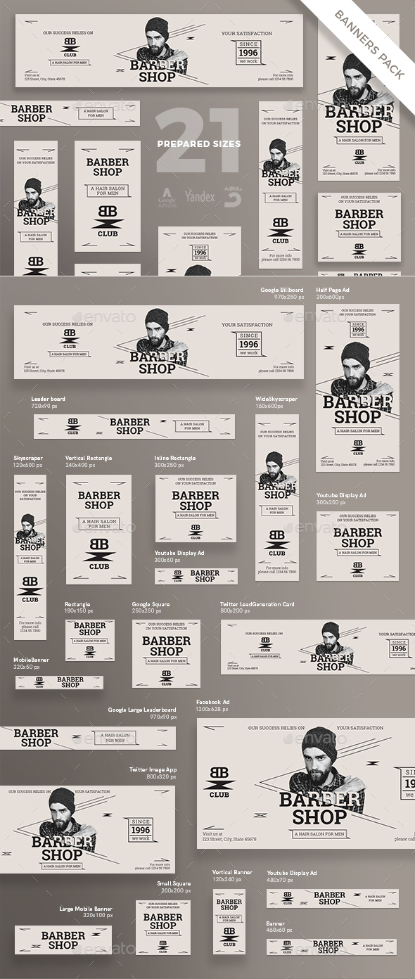 GraphicRiver Barber Shop Banner Pack 21176130