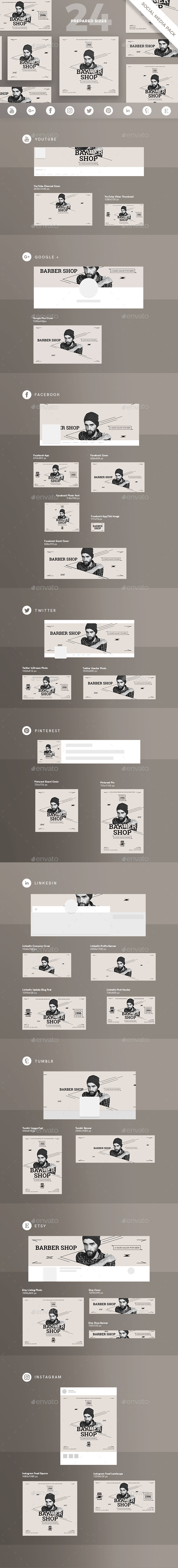 GraphicRiver Barber Shop Social Media Pack 21176138