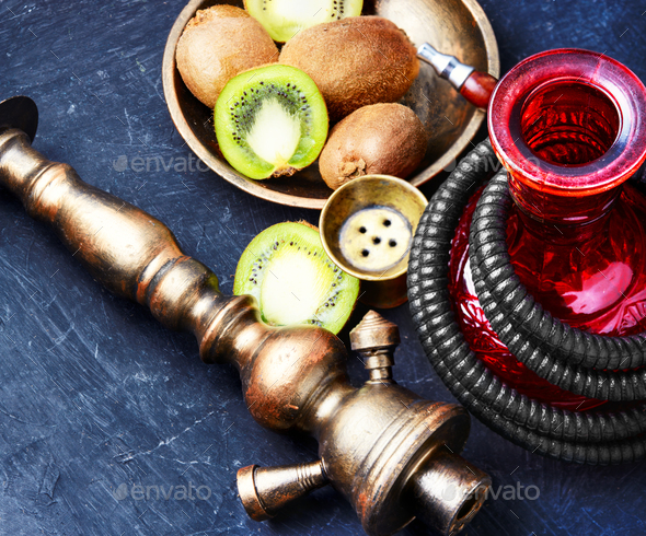 hookah shisha with kiwi - Stock Photo - Images