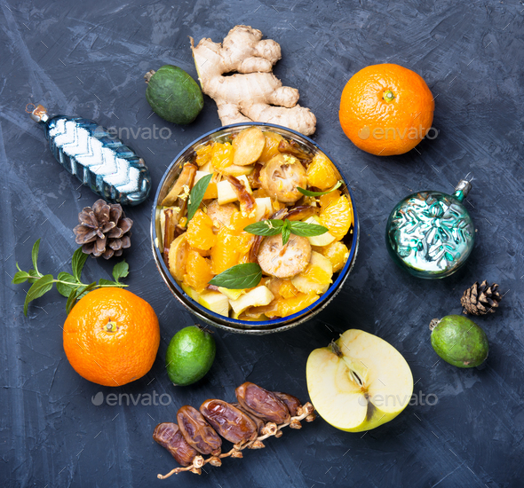 Christmas detox fruit salad - Stock Photo - Images