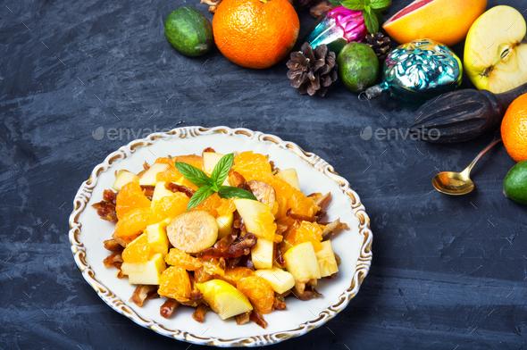 Christmas detox fruit salad - Stock Photo - Images