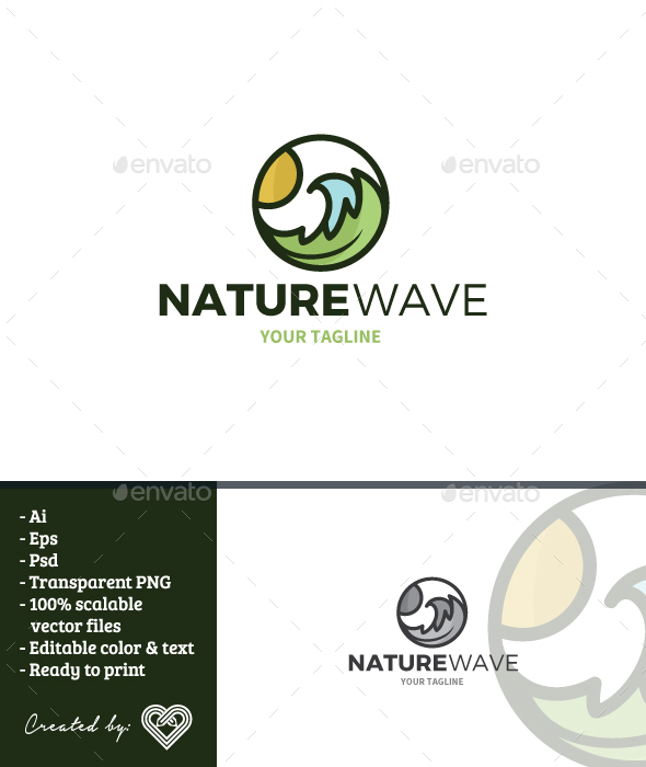 GraphicRiver Nature Wave Logo Template 21176320