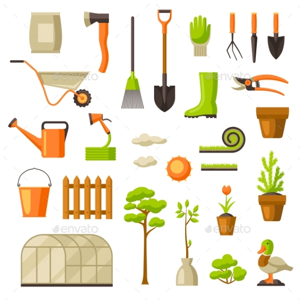 GraphicRiver Set of Garden Tools and Items 21176328