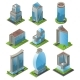 Isometric Urban Office Buildings Set
