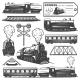 Vintage Monochrome Locomotive Elements Collection