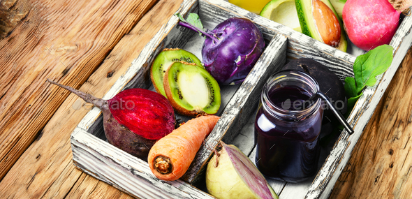 juice from fresh vegetables - Stock Photo - Images