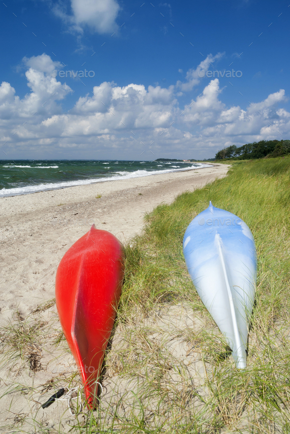 Canoes on the beach - Stock Photo - Images