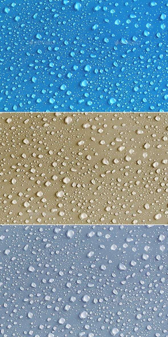 Waters Drops Textures Pack in 3 Different Colors - Backgrounds Graphics