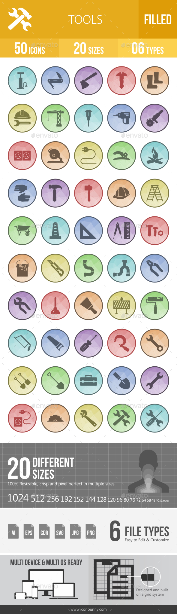 GraphicRiver 50 Tools Filled Low Poly Icons 21176490