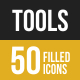 50 Tools Filled Low Poly Icons