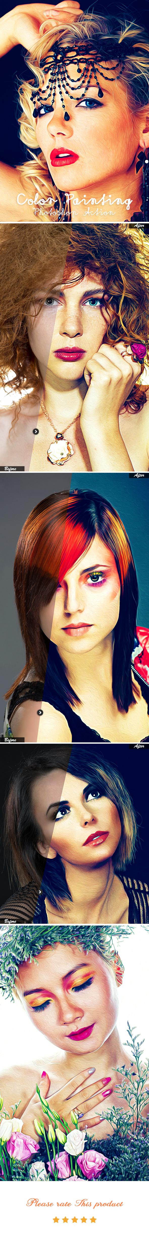 Color Paint Photoshop Action - Photo Effects Actions