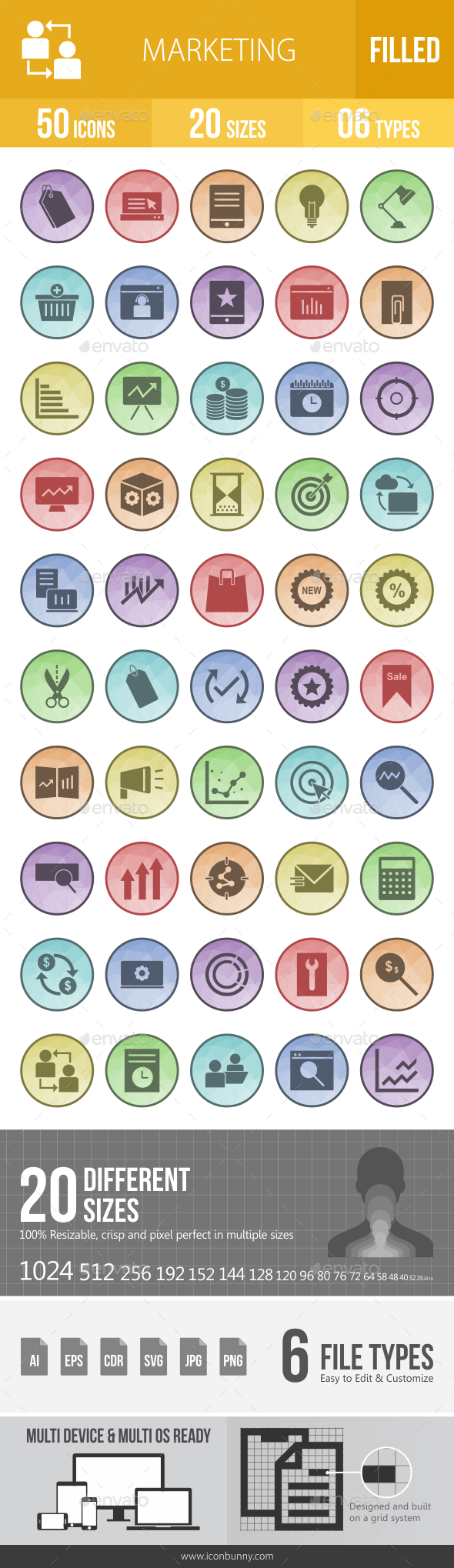 50 Marketing Filled Low Poly Icons - Icons