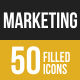 50 Marketing Filled Low Poly Icons