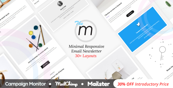 Miley | Minimal Responsive Email Template with Online Email Builder