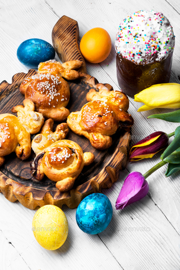 easter symbolic bun - Stock Photo - Images