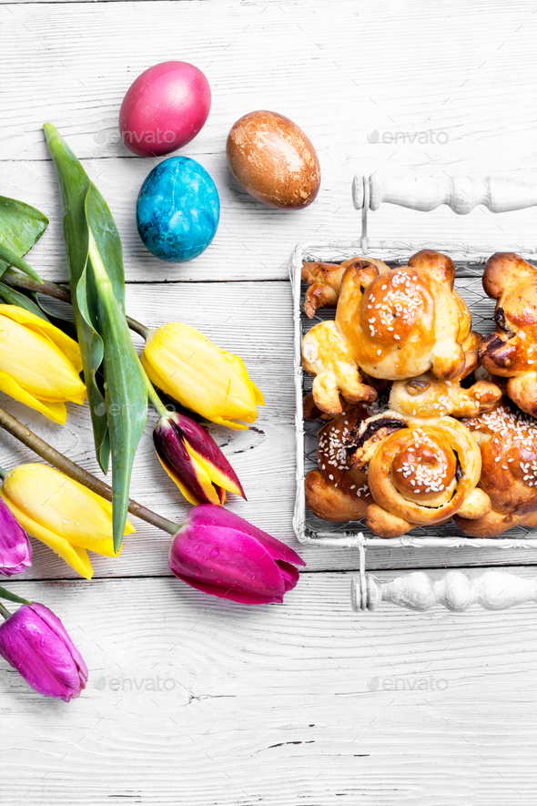easter symbolic bun - Stock Photo - Images