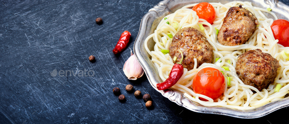 Meat cutlets and pasta - Stock Photo - Images