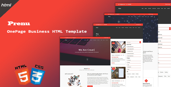 ThemeForest Prenu OnePage Business HTML Template 21033784