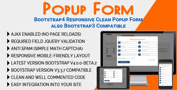CodeCanyon Popup Form Bootstrap4 Responsive Clean Popup Form also Bootstrap3 Compatible 21176997