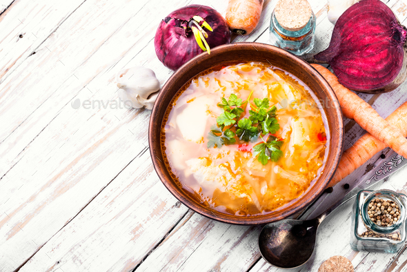 Ukrainian national borshch - Stock Photo - Images