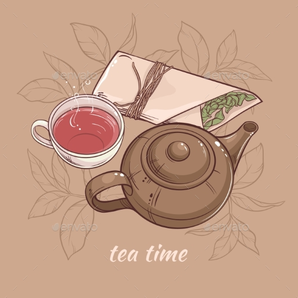 GraphicRiver Teapot with Cup of Tea 21177783