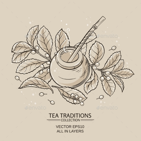 GraphicRiver Mate Tea in Calabash and Bombilla 21177793