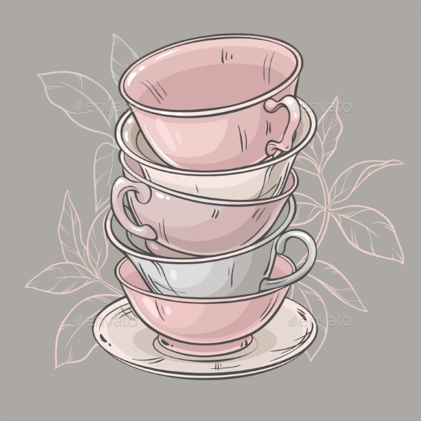 Cups on Grey Background - Food Objects
