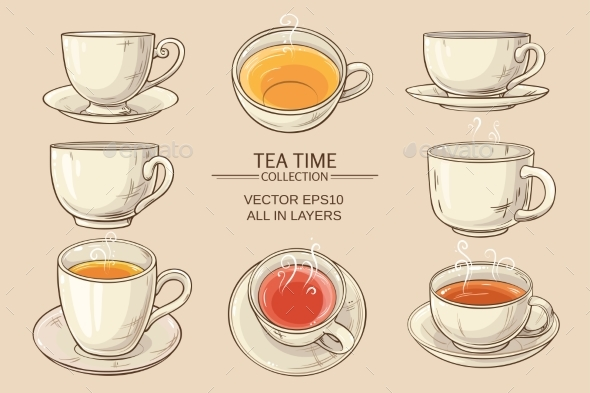 GraphicRiver Tea Cups Set 21177840